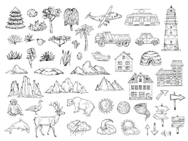 Elementos del mapa dibujados a mano. bosqueje los edificios y las nubes del árbol y del arbusto de la montaña de la colina. símbolos de grabado vintage para cartografía