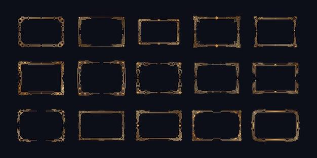 Elementos de marcos y bordes ornamentados geométricos en estilo retro de lujo de los años 20