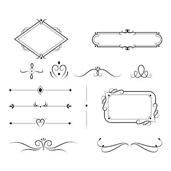 Elementos y marcos ornamentales caligráficos