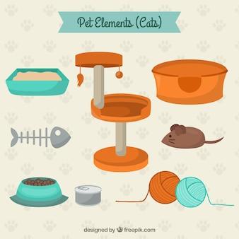 Elementos de mascotas para gatos