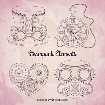 Elementos mecánicos steampunk incompletos