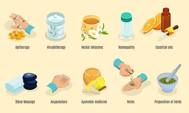 Elementos de medicina alternativa isométrica con aritoterapia hirudoterapia hierbas homeopatía aceites piedra