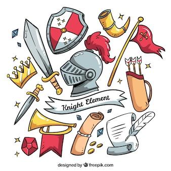 Elementos medievales con diseño gracioso