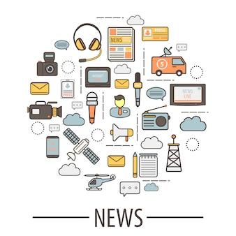Elementos de los medios para la recopilación de noticias y traducción