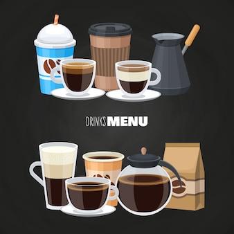 Elementos del menú de bebidas en pizarra - diseño plano de cafetería