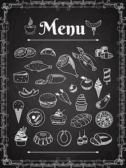 Elementos de menú de comida de vector en pizarra