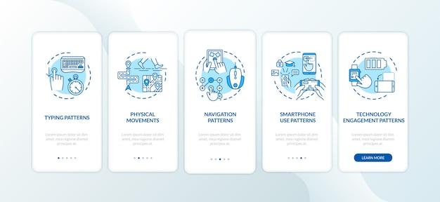 Elementos de métricas de comportamiento que incorporan la pantalla de la página de la aplicación móvil con conceptos