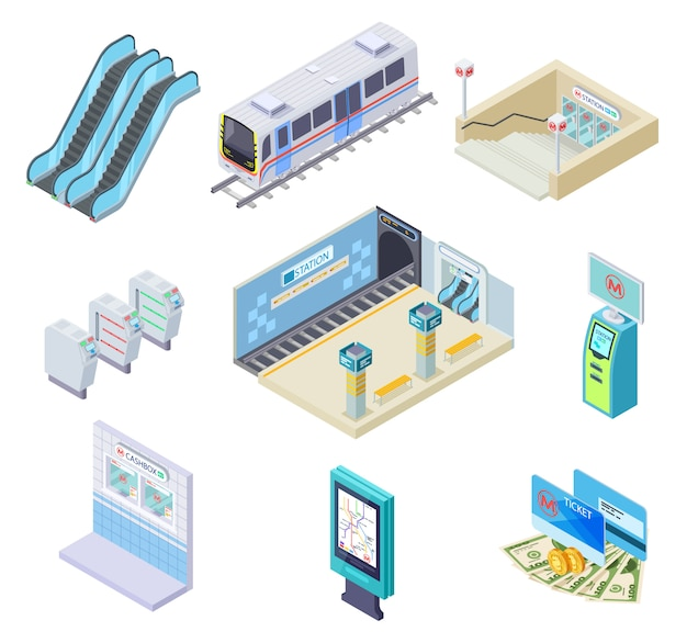 Elementos de metro isométricos. metro, plataforma de la estación y escaleras mecánicas, torniquete y túnel subterráneo. colección de metro 3d