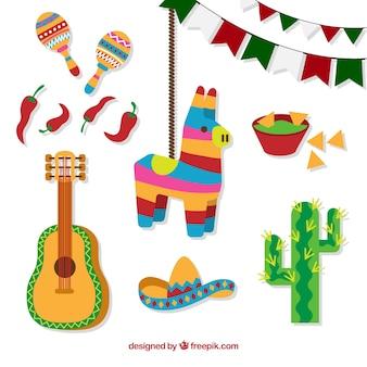 Elementos mexicanos coloridos