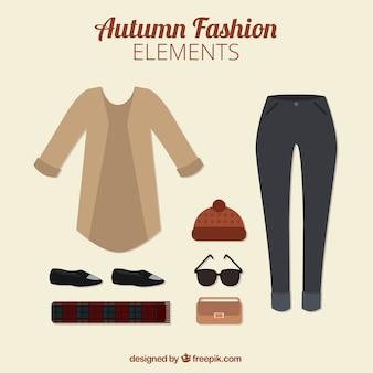 Elementos a la moda de otoño en estilo plano