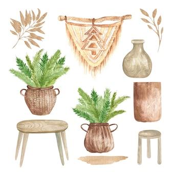 Elementos modernos de boho del macramé de decoración del hogar interior, cestas con ramas, mesa de madera y silla aisladas sobre fondo blanco