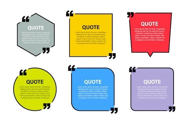 Elementos modernos de citas modernas de bloques plantilla de marco de texto de citas y comentarios creativos