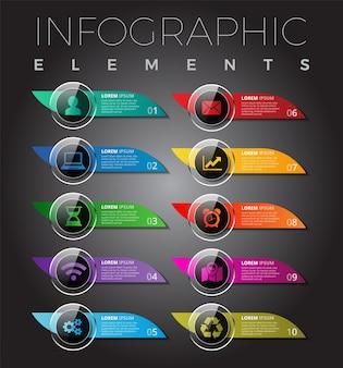 Elementos modernos de infografía / diseño de la plantilla de botones móviles