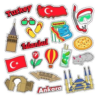 Elementos nacionales de turquía con arquitectura y bandera. vector doodle