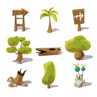 Elementos de la naturaleza de dibujos animados, objetos sobre fondo blanco.