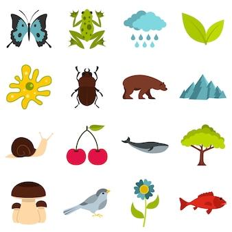 Elementos de la naturaleza establecer iconos planos
