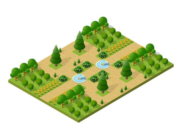 Elementos de la naturaleza isométrica 3d árboles bosque camping