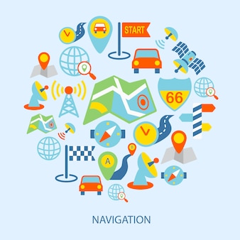 Elementos de navegación móviles planos.