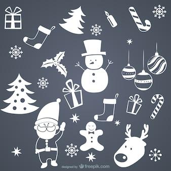 Elementos de navidad blancos