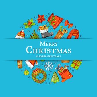 Elementos de navidad de colores dibujados a mano