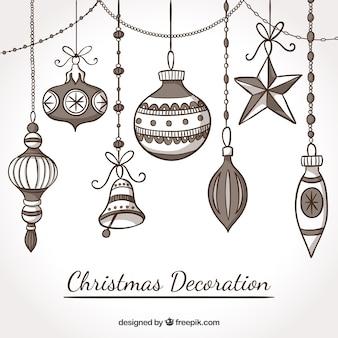 Elementos de navidad dibujados a mano