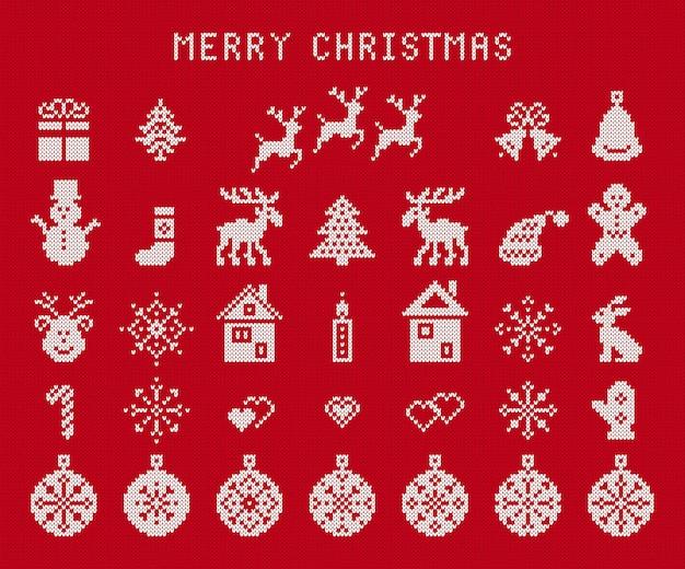 Elementos de navidad de punto. impresión sin costuras fea de navidad. ilustración vectorial.