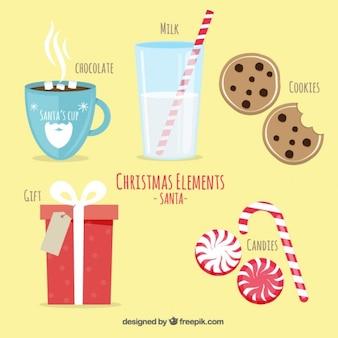 Elementos de navidad de santa claus