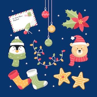 Elementos navideños aislados