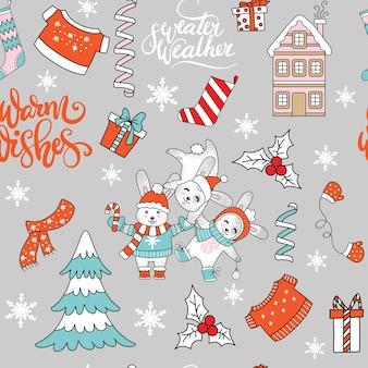 Elementos navideños y animales de patrones sin fisuras.