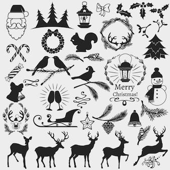 Elementos navideños, blanco y negro