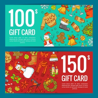 Elementos navideños de colores dibujados a mano con santa, árbol de navidad, regalos y campanas, tarjeta de regalo o ilustración de plantilla de vale