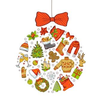 Elementos navideños de colores