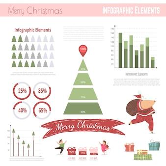 Elementos navideños de infografía