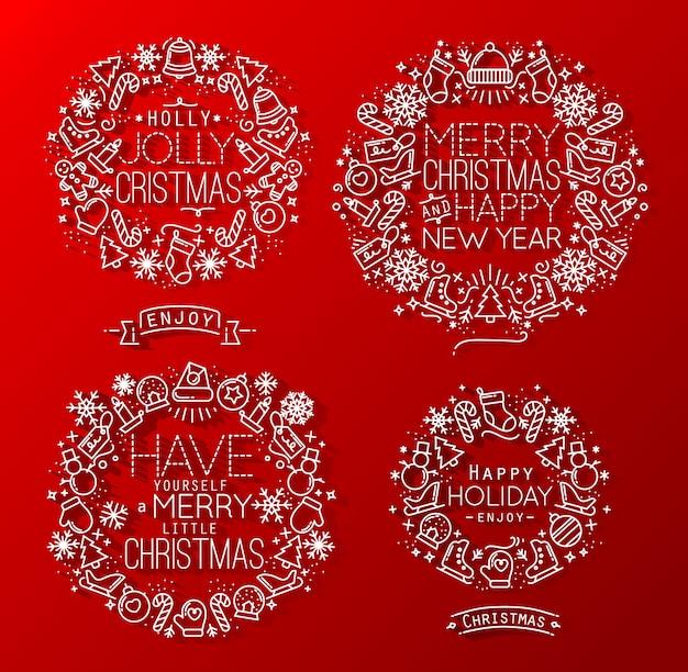 Elementos navideños rojos