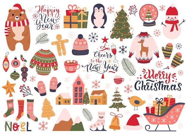 Elementos navideños vacaciones de invierno calcetines acogedores decoraciones abeto y muñeco de nieve conjunto de vectores