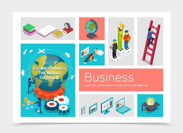 Elementos de negocio isométricos con empresarios en pedestal hombre sube escaleras globo terráqueo dispositivos modernos manzana en tapa de graduación libros despertador engranajes