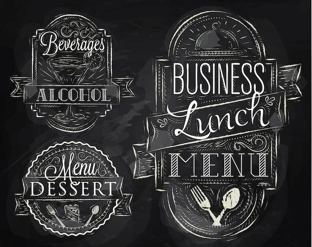 Elementos de negocios almuerzo tiza