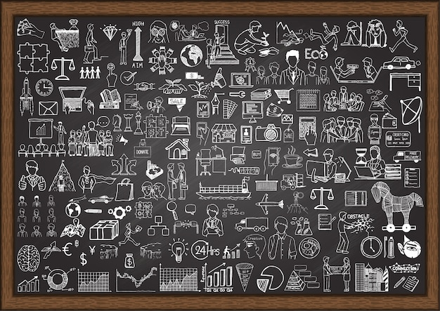 Elementos de negocios dibujados a mano sobre pizarra