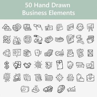 Elementos de negocios dibujados a mano