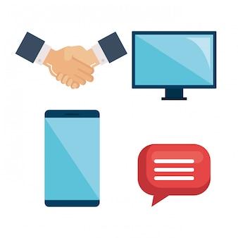 Elementos de negocios con manos, computadora, monitor, teléfono inteligente y conjunto de burbujas de discurso