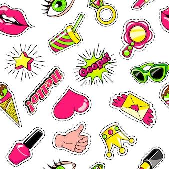 Elementos para niñas estilo cómico de patrones sin fisuras