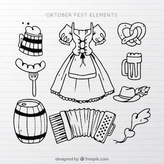 Elementos del oktoberfest abocetados