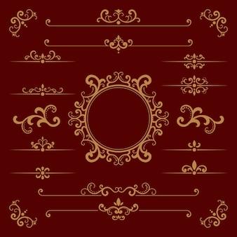 Elementos ornamentales caligráficos dorados.