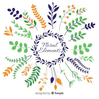 Elementos ornamentales florales dibujados a mano