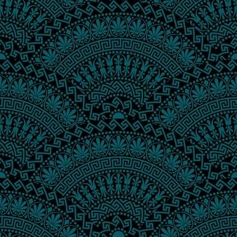 Elementos ornamentales en forma de abanico oscuro vintage transparente tradicional con patrones griegos, meandro
