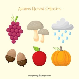 Elementos de otoño con estilo divertido