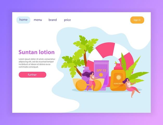 Elementos de la página del sitio web plano para el cuidado de la piel con protector solar con enlaces de texto e imágenes