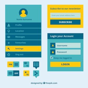 Elementos de página web azules y amarillos