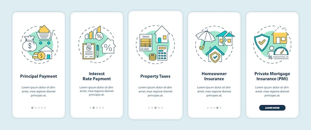 Elementos de pago hipotecario que incorporan la pantalla de la página de la aplicación móvil con conceptos.