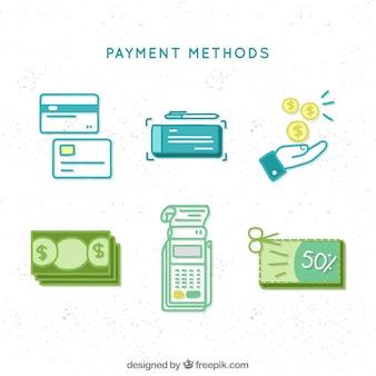 Elementos de pagos con estilo minimalista